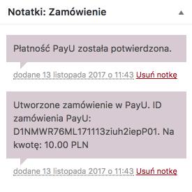 PayU WooCommerce - notatka zamówienia dla płatności cyklicznej