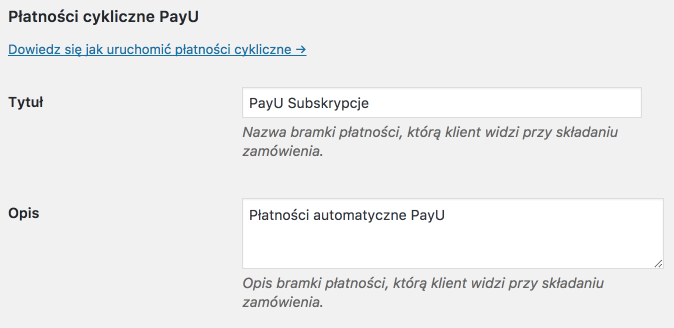 PayU WooCommerce - Ustawienia płatności cyklicznych