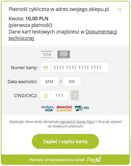 PayU WooCommerce - Widget płatności cyklicznej
