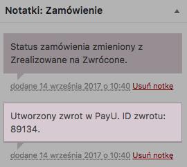 Integracja WooCommerce PayU – automatyczne zwroty, notatka