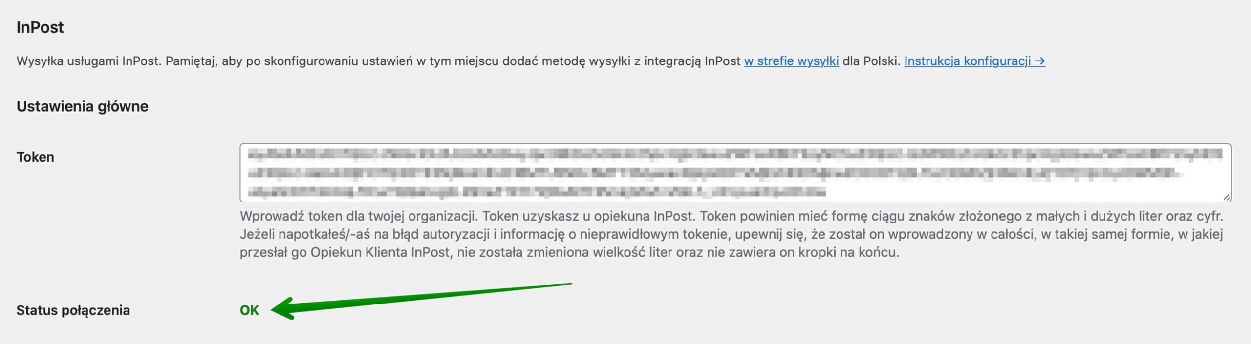 InPost WooCommerce - Status połączenia z API OK