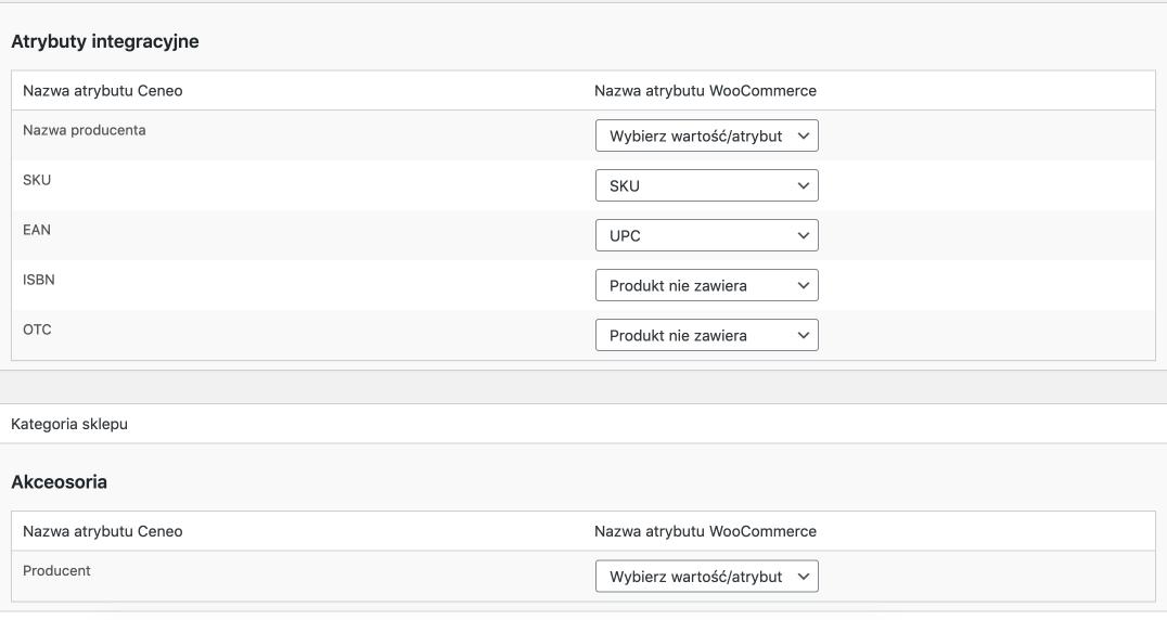 Mapowanie atrybutów Ceneo