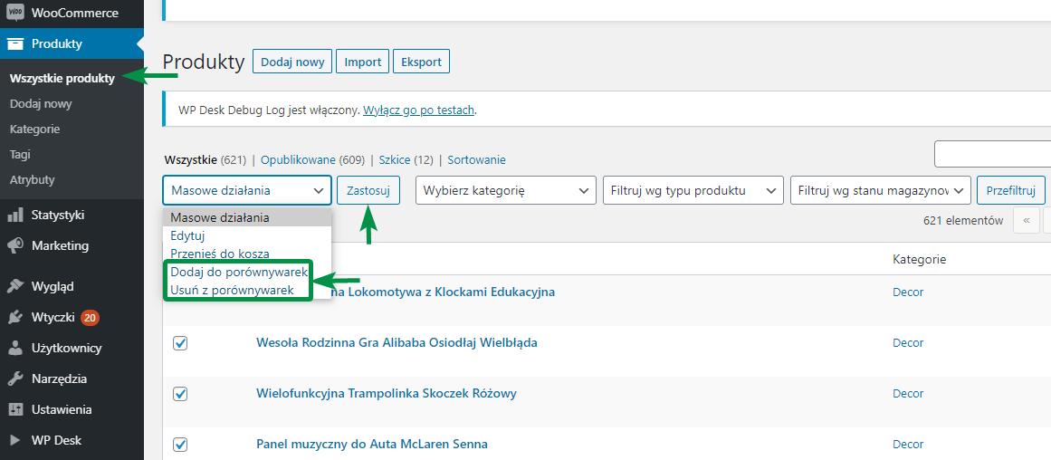 Porównywarki Cen XML WooCommerce - masowe dodawanie i usuwanie produktów z plików feedów