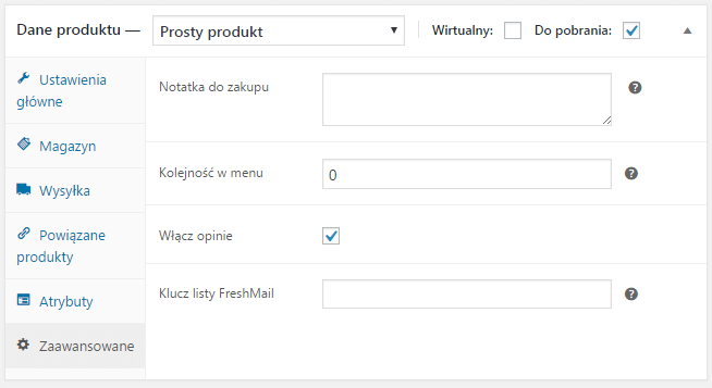 Ustawienia listy dla produktu