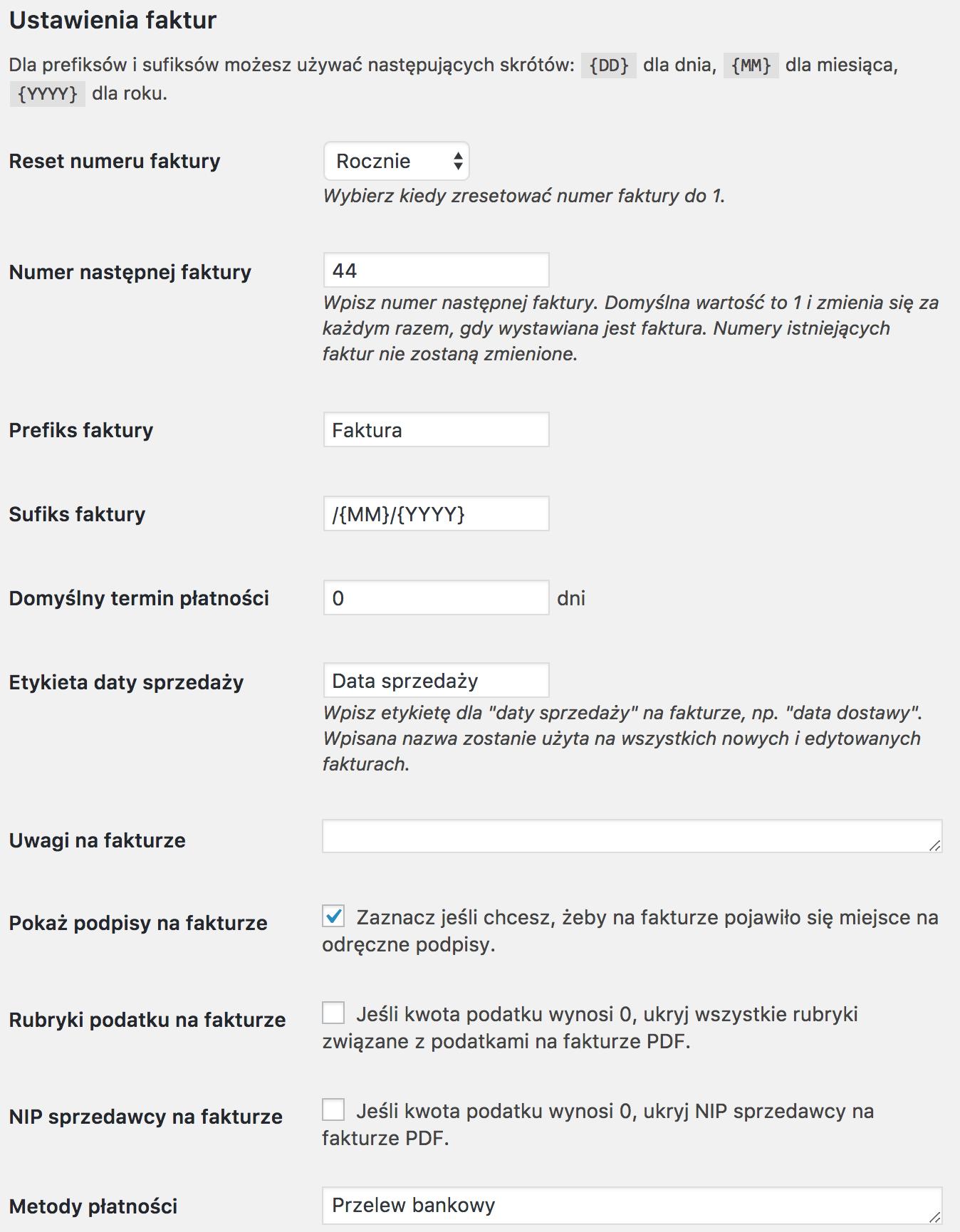 Faktury WordPress - Ustawienia faktur