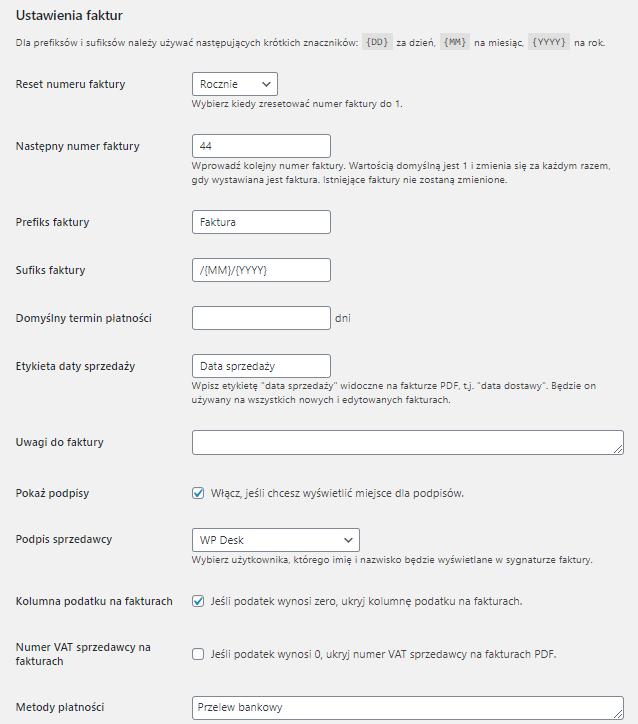 Faktury PDF WordPress - Ustawienia faktur