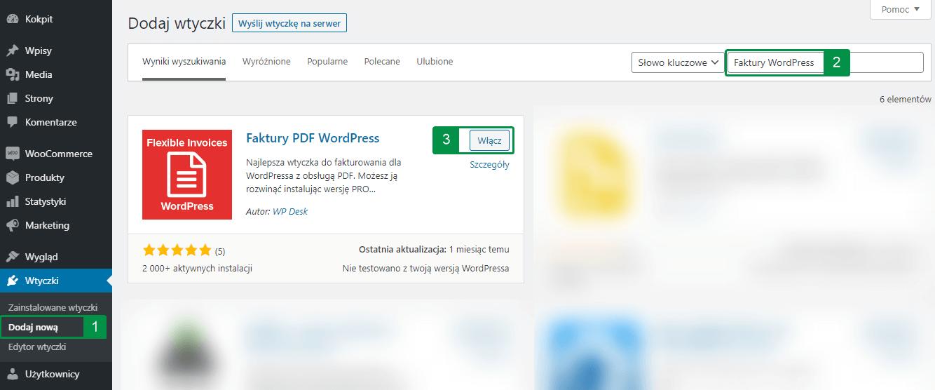 Instalacja Faktury PDF WordPress