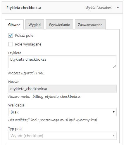 Checkbox - konfiguracja pola