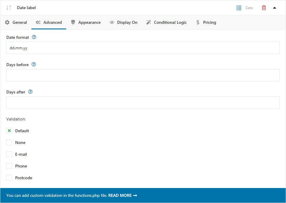Pole data - konfiguracja pola