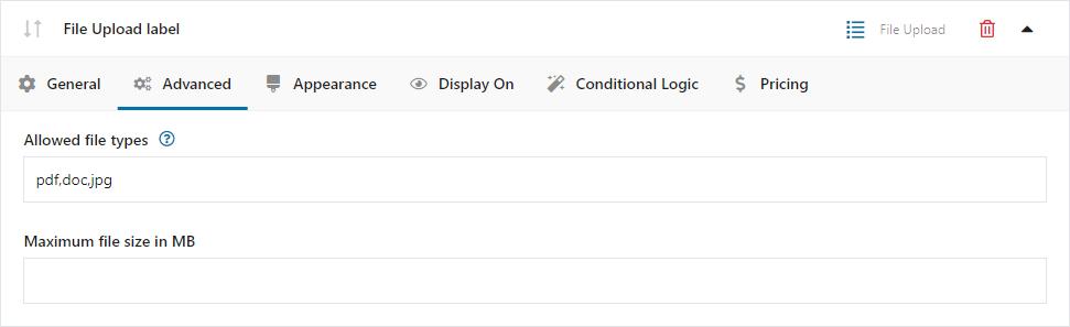 Przesyłanie pliku - konfiguracja pola