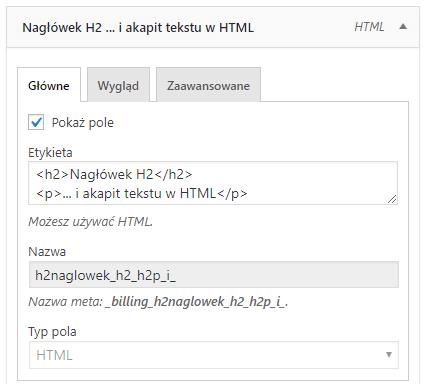 Pole HTML - konfiguracja pola
