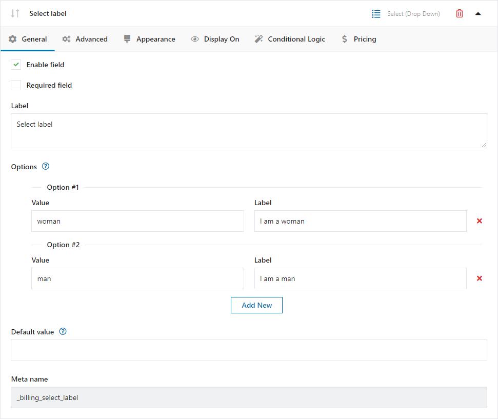 Lista rozwijalna - konfiguracja pola