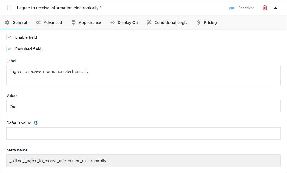 Konfiguracja dodatkowych checkboxów