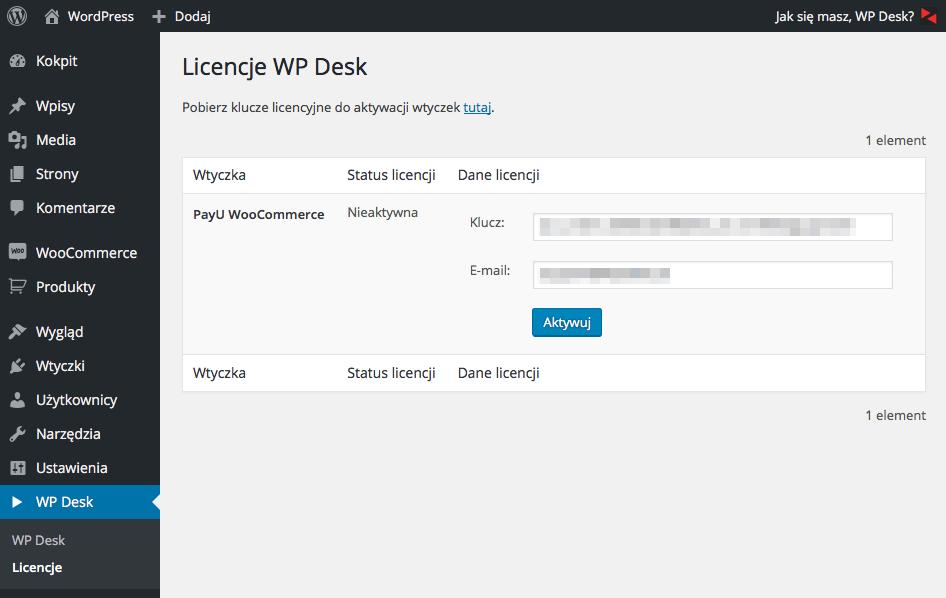 Aktywacja subskrypcji WP Desk