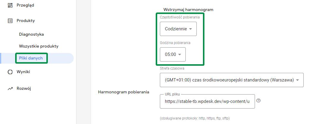 Google Merchant Center WooCommerce - harmonogram