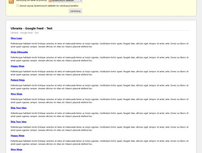 Podgląd pliku Google Merchant