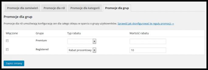 Ustawienia promocji dla grup
