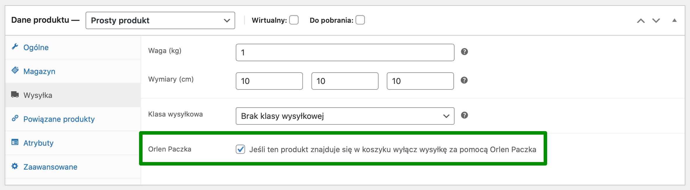 Wyłączanie wysyłki Orlen Paczką wybranego produktu