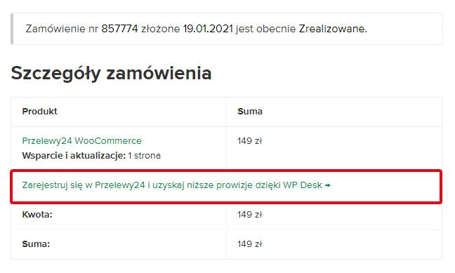 Przelewy24 WooCommerce- Niższe prowizje - widok w zamówieniu WP Desk