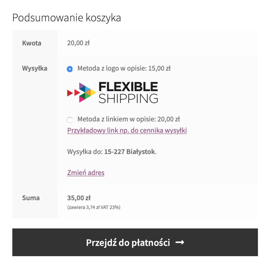 Metoda wysyłki Flexible Shipping z logo i z linkiem w opisie
