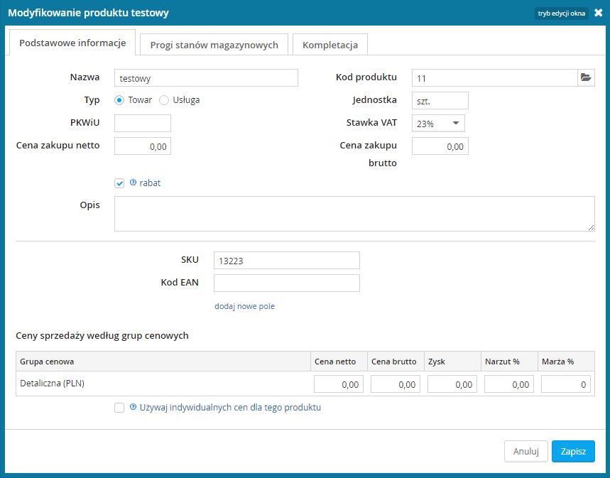 wFirma - modyfikacja produktu