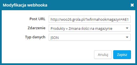 wFirma - modyfikacja webhooka