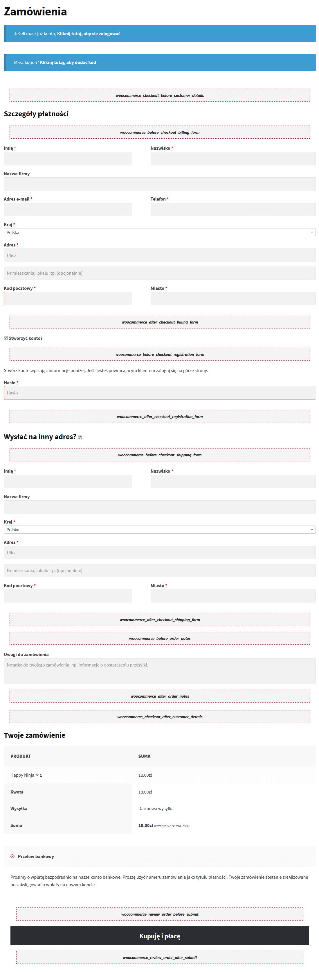 Dodatkowe sekcje na motywie Storefront