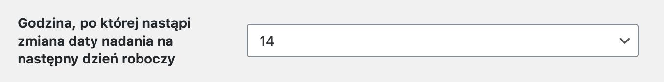 DHL WooCommerce Wybór godziny zmiany nadania na kolejny dzień roboczy