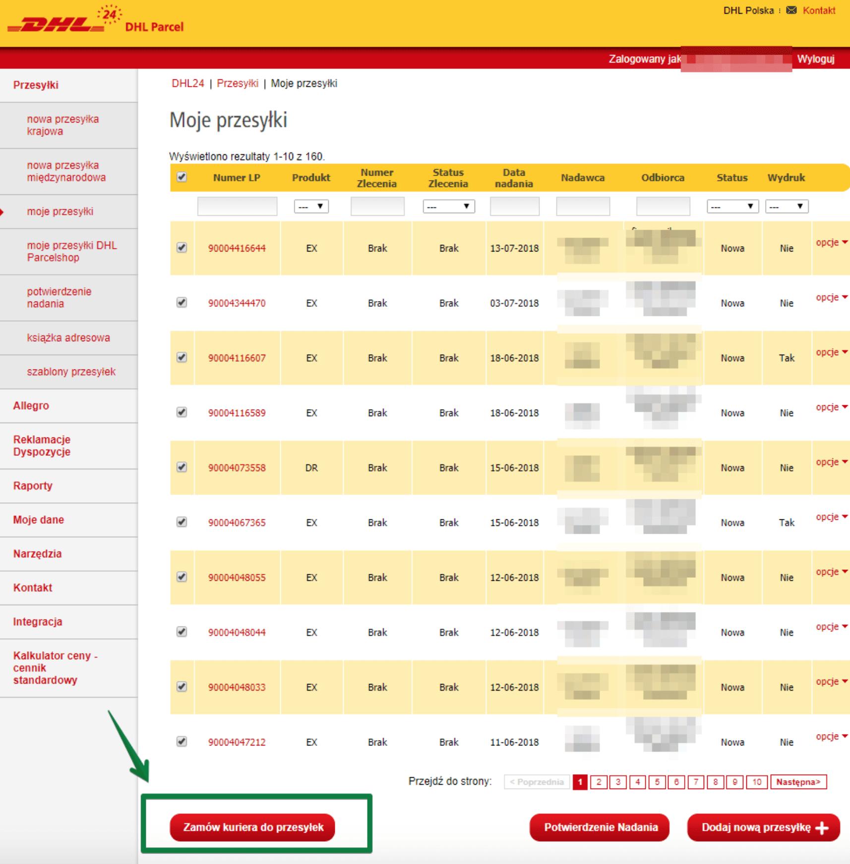 DHL WooCommerce - Zlecenie odbioru przesyłek przez kuriera
