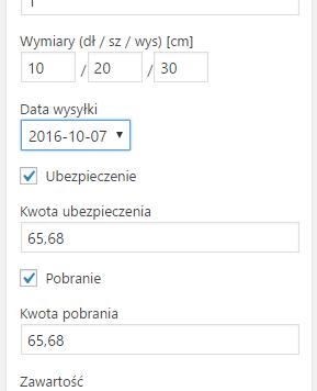 Ustawienia przesyłki DHL w edycji zamówienia WooCommerce