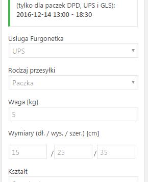 Zamówiona przesyłka w edycji zamówienia WooCommerce