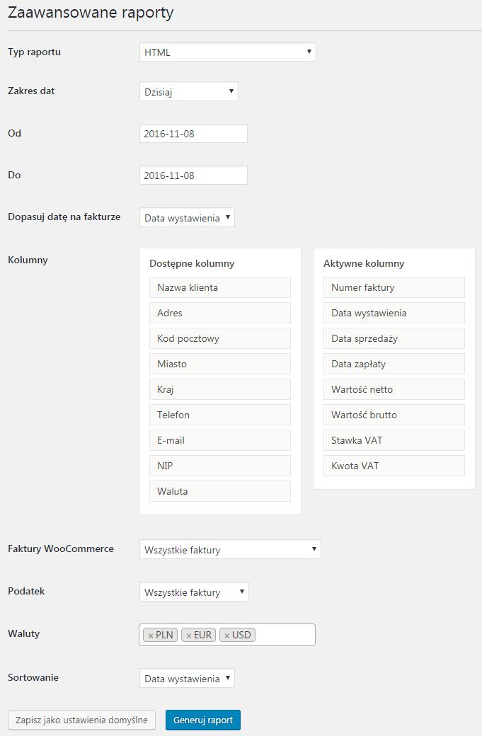 Faktury WordPress Zaawansowane Raporty - Ustawienia