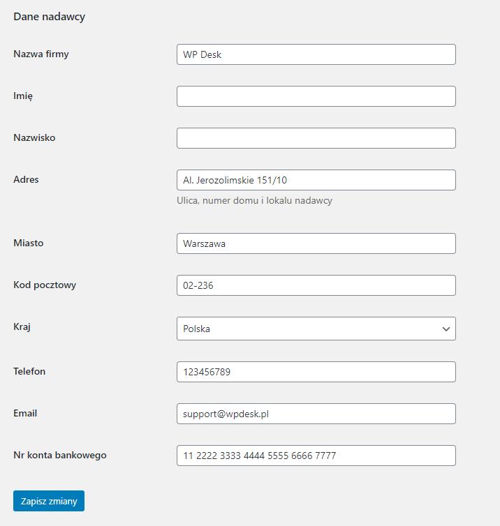 Furgonetka WooCommerce - Konfiguracja - Dane nadawcy