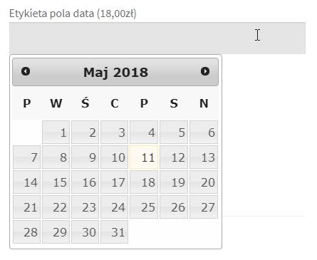 Pole data - pole na stronie produktu