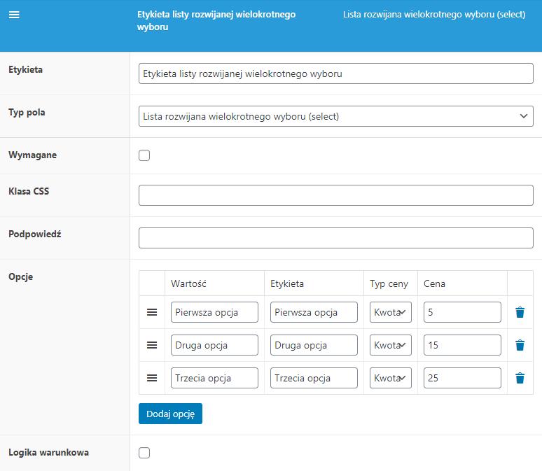 Lista rozwijalna wielokrotnego wyboru - konfiguracja pola