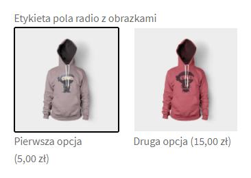 Pole radio z obrazkami - pole na stronie produktu