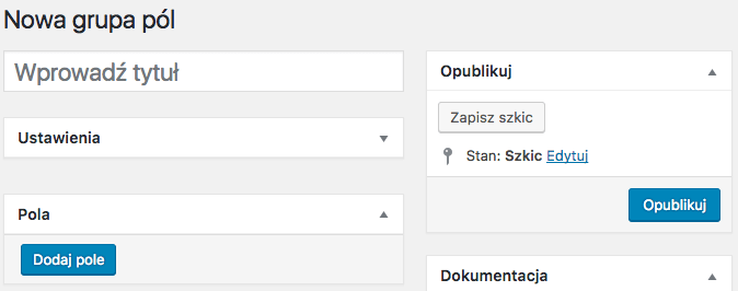 WooCommerce Flexible Product Fields - nowa grupa pól