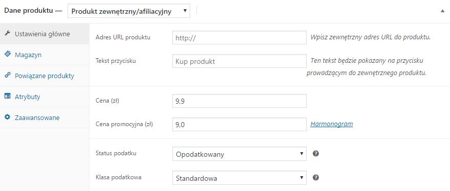 Produkt zewnętrzny WooCommerce - ustawienia główne