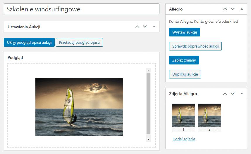 Allegro WooCommerce edycja szkicu aukcji