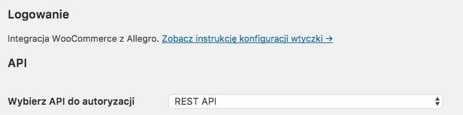 Allegro WooCommerce - Wybór API