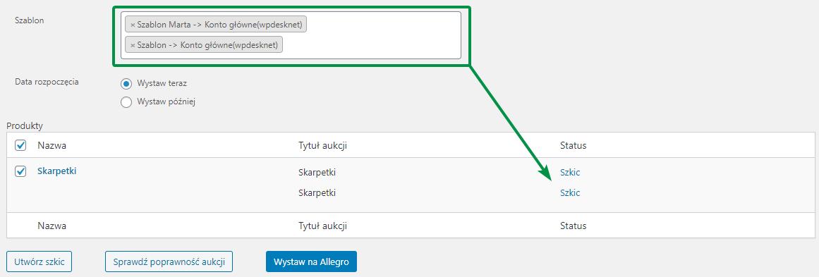 Allegro WooCommerce wybór szablonu aukcji do wystawienia aukcji
