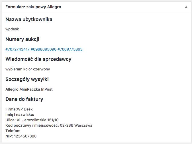 Allegro WooCommerce - formularz opcji dostawy