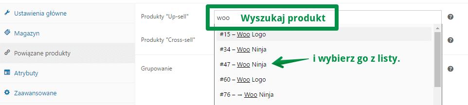 produkty w WooCommerce - ustawienia powiązanych produktów