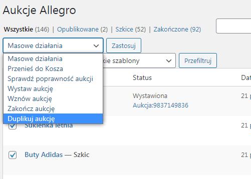 WooCommerce Allegro Duplikuj aukcje masowo
