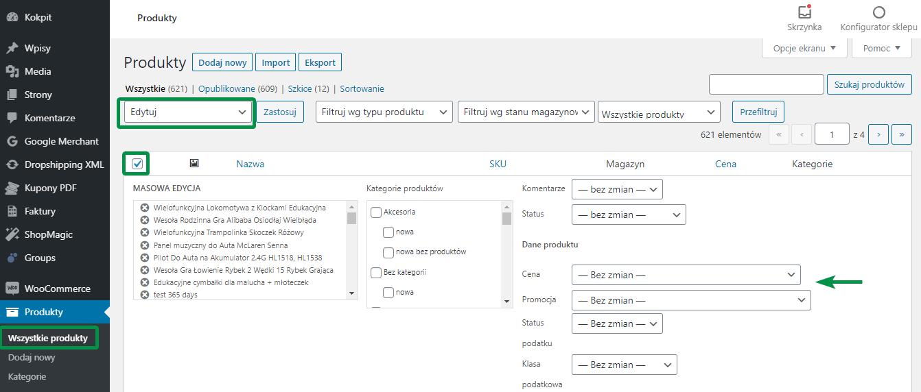 Masowa edycja ceny produktów WooCommerce