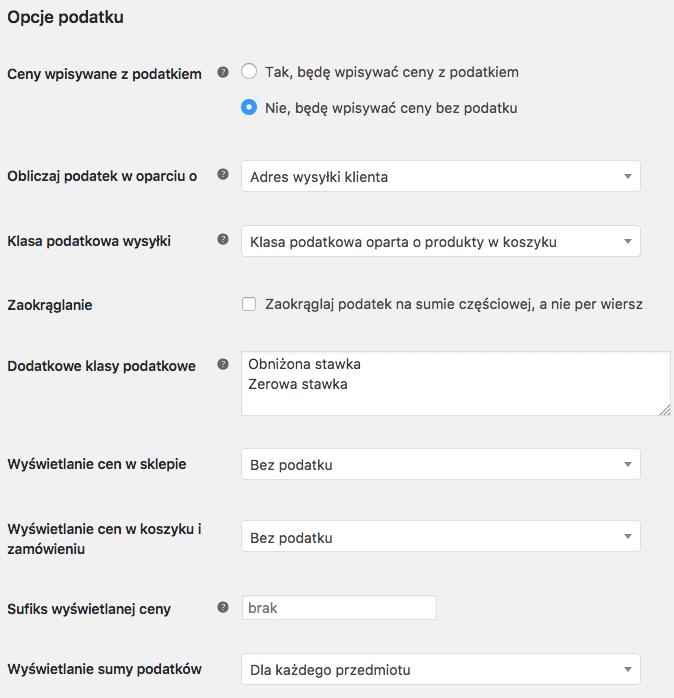 Opcje podatku WooCommerce