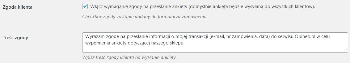 Zgoda na ankietę z Opineo