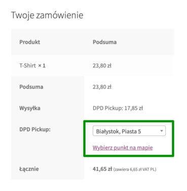 DPD WooCommerce - DPD Pickup lista punktów odbioru