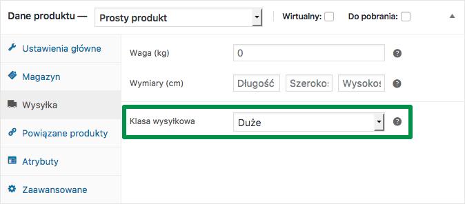 Przypisywanie klasy wysyłkowej do produktu