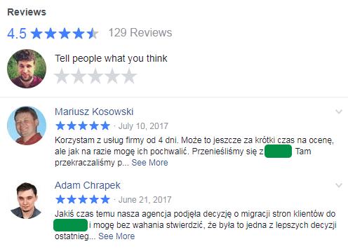 Opinie na Facebooku na temat firmy hostingowej - zrzut ekranu
